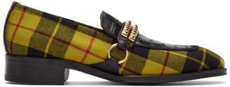 Giuseppe Zanotti Black and Yellow Plaid Loafers