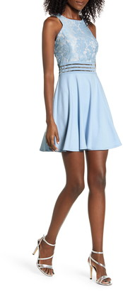 Speechless Lace Bodice Sleeveless Skater Dress