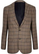 River Island MensEcru checked tailored blazer