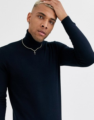 ONLY & SONS roll neck knitted sweater in navy