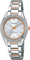 Pulsar Womens Crystal-Accent Two-Tone Stainless Steel Bracelet Watch PH8129X