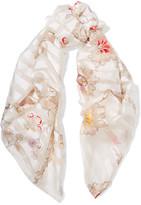 Fendi Printed Silk-jacquard Scarf - White
