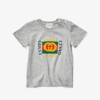 Gucci Kids T-Shirt 497845X3L91 (Infant) (Light Grey/Green/Red) Kid's Short Sleeve Pullover