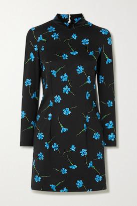 MARCIA Mireille Cutout Floral-print Stretch-jersey Mini Dress - Blue