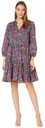 J.Crew Tiered Dress with Ruffle (Red/Blue Multi) Women's Dress