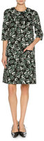 Marni Floral-Print Elbow-Sleeve Dress, Green