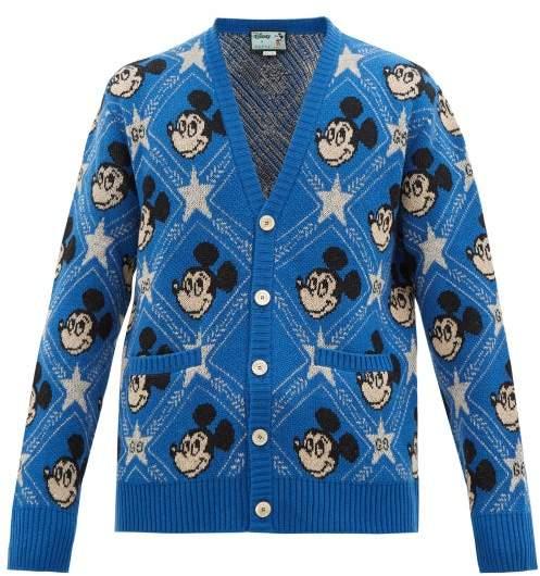 Gucci Mickey Mouse Jacquard-knit Cardigan - Mens - Blue
