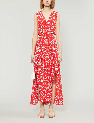 Maje Renilde V-neck graphic midi dress