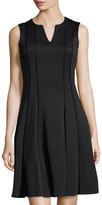 Karl Lagerfeld V-Neck Stitched Scuba Cocktail Dress, Noir