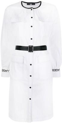 Karl Lagerfeld Paris Logo-Sleeve Shirt Dress