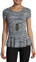 BY AND BY by&by Cap-Sleeve Space-Dye Peplum Top with Necklace - Juniors