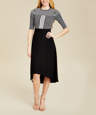 Ted Baker Women's Casual Dresses BLACK - Black Geometric Hi-Low Aggigi Midi Dress - Women