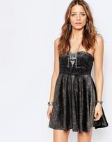 Free People Shattered Shine Metallic Bandeau Dress
