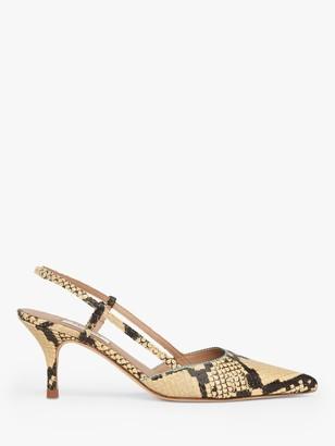 LK Bennett Henley Snake Print Slingback Court Shoes, Yellow