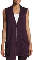 Max Studio Sleeveless Terry Zip-Front Cardigan, Wine/Natural