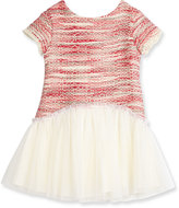 Charabia Short-Sleeve Tweed & Mesh Fit-and-Flare Dress, Pink, Size 2-4