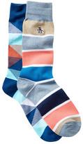 Original Penguin Stripe & Pattern Crew Socks - Pack of 2