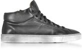 Santoni Dark Gray Washed Leather High Top Men's Sneakers