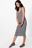 boohoo Maternity Ellie Stripe Strappy Midi Bodycon Dress