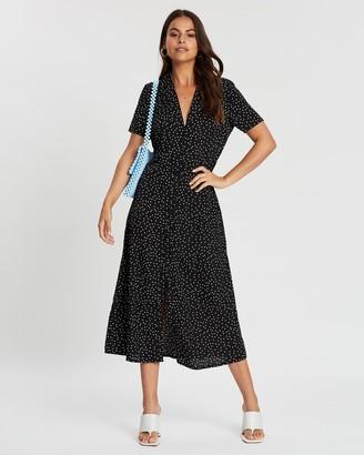 Missguided Button-Through Midi Polka Shirt-Dress