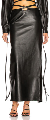 CHRISTOPHER ESBER Leather Looped Tie Skirt in Black | FWRD