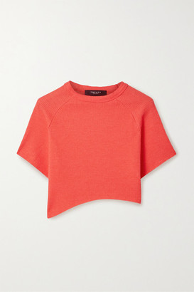 Twenty Montreal Everest Cropped Asymmetric Waffle-knit Jersey T-shirt - Red
