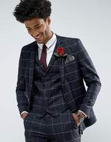 Asos Wedding Super Skinny Suit Jacket in Navy Windowpane Check With Nepp