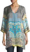 Johnny Was Journey 3/4-Sleeve V-Neck Printed Silk Twill Top