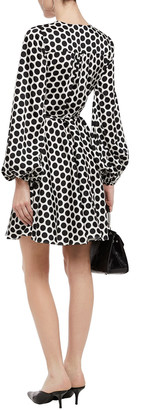 Milly Gathered Polka-dot Satin-twill Mini Wrap Dress