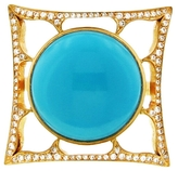 Cathy Waterman Turquoise and Diamond Square Frame Ring