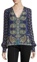Nanette Lepore Long-Sleeve Mixed-Print Blouse, Plum/Multi