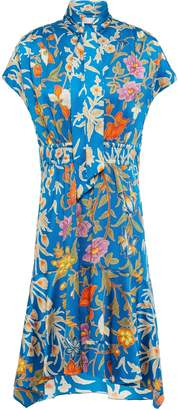 Peter Pilotto Tie-neck Floral-print Hammered Silk-blend Satin Dress