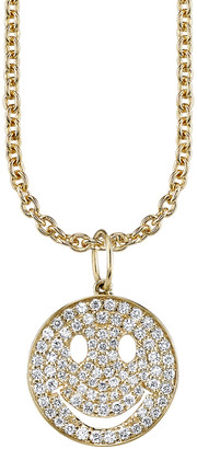 Sydney Evan Diamond Pave Smiley Face Necklace - Yellow Gold