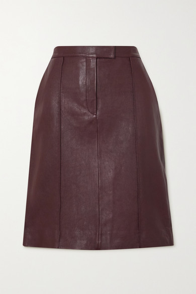 Victoria Victoria Beckham Paneled Leather Skirt - Burgundy