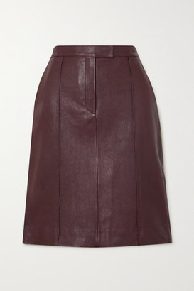 Victoria Victoria Beckham Paneled Leather Skirt - Burgundy