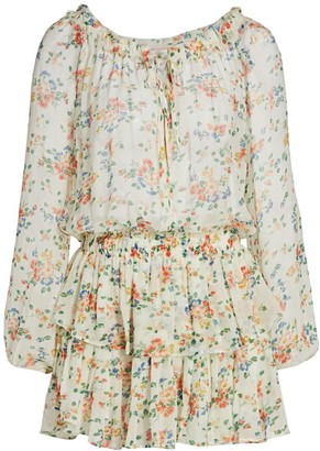LoveShackFancy Floral Popover Silk Dress