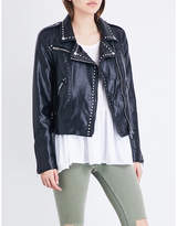 Free People Studded vegan moto faux-leather jacket