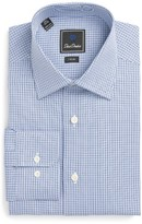 David Donahue Men's Trim Fit Houndstooth Dress Shirt