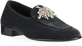 Giuseppe Zanotti Men's Sacchetto Velvet Crystal Loafers