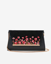 White House Black Market Floral Embroidered Clutch