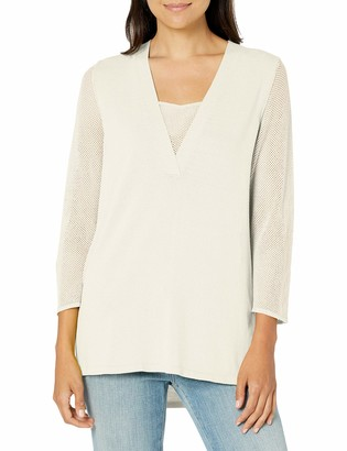 Jones New York Women's Deep V-nk W/Overlap at Cf High Low Tunic