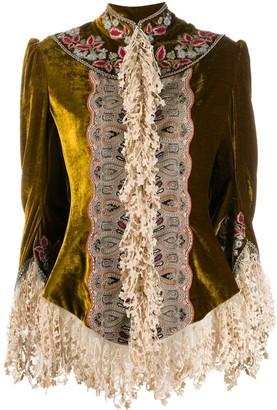 Etro Lace Detail Velvet Fringed Shirt