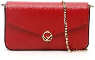 Fendi Logo Foldover Chain Shoulder Bag