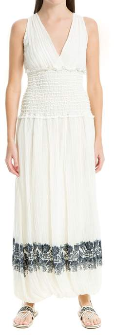 Max Studio Linen And Cotton Embroidered Dress