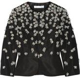 Oscar de la Renta Embellished Silk-faille Peplum Jacket - Black