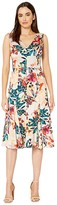 Maggy London Shadow Branch Flower Printed Charmeuse Fit and Flare Dress (Champagne/Bright Orange) Women's Dress