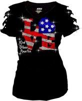 Zenana Bling Rhinestones 4th of July T-shirt Ripped Slit Cut Out American Flag