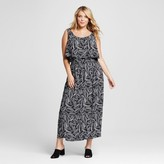 Merona Women's Plus Size Popover Maxi Dress Black Palm Print