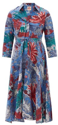 Le Sirenuse Positano Le Sirenuse, Positano - Lucy Palm-print Belted Cotton Dress - Blue Print