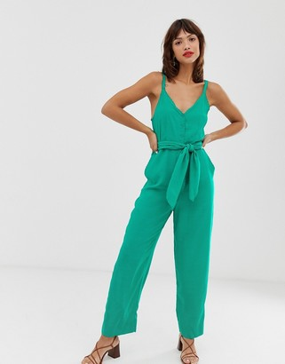 And other stories & belted scallop edge jumpsuit in bright green